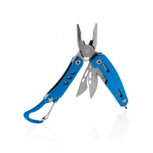 Solid mini multitool with carabiner, blue