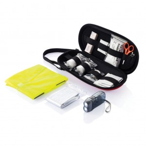 47 pcs first aid car kit, red/black-