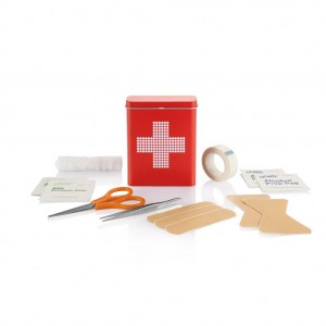 First aid tin box, red
