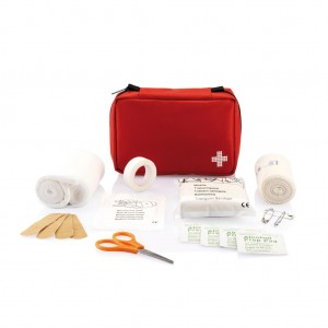 Mail size first aid kit, red