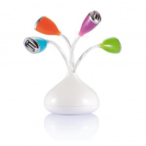 Flower 4 port USB hubs with LED light, white