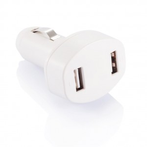 Double USB car charger, white