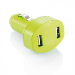 Double USB car charger, green