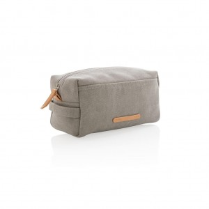 Canvas toiletry bag PVC free, grey