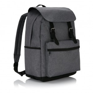 Laptop backpack with magnetic bucklestraps, grey/black