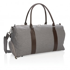 Weekend bag with USB output, grey