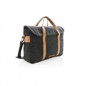 Canvas laptop bag PVC free, black