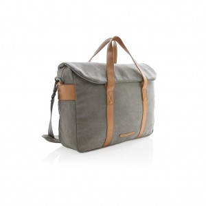 Canvas laptop bag PVC free, grey