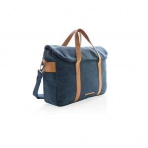 Canvas laptop bag PVC free, blue