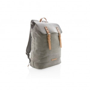 Canvas laptop backpack PVC free, grey