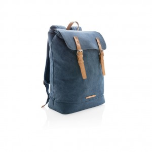 Canvas laptop backpack PVC free, blue