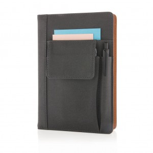 Notebook with phone pocket, black