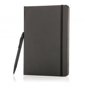 Standard hardcover A5 notebook with stylus pen, black