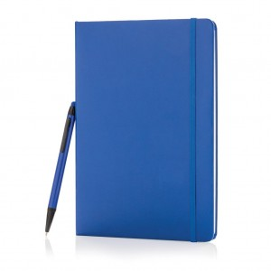 Standard hardcover A5 notebook with stylus pen, blue