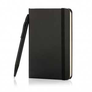 Standard hardcover A6 notebook with stylus pen, black