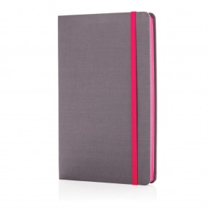 Deluxe fabric notebook with coloured side, pink