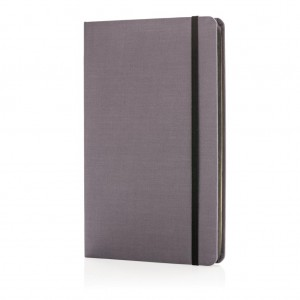 Deluxe fabric notebook with coloured side, black