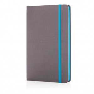 Deluxe fabric notebook with coloured side, light blue