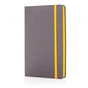 Deluxe fabric notebook with coloured side, yellow