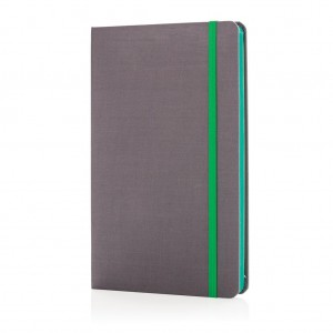 Deluxe fabric notebook with coloured side, green