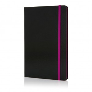 Deluxe hardcover A5 notebook with coloured side, purple