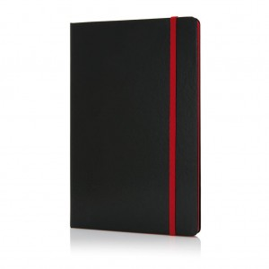 Deluxe hardcover A5 notebook with coloured side, red
