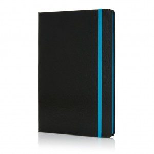 Deluxe hardcover A5 notebook with coloured side, blue