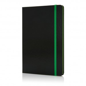 Deluxe hardcover A5 notebook with coloured side, green