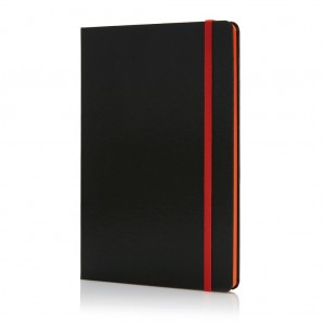 Deluxe hardcover A5 notebook with coloured side, orange