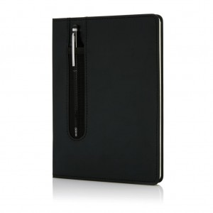 Standard hardcover PU A5 notebook with stylus pen, black