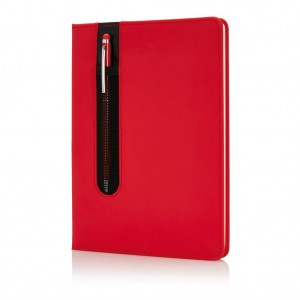 Standard hardcover PU A5 notebook with stylus pen, red