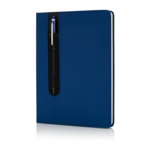 Standard hardcover PU A5 notebook with stylus pen, blue