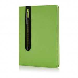 Standard hardcover PU A5 notebook with stylus pen, lime
