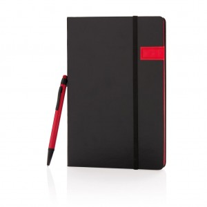 Deluxe 8GB USB notebook with stylus pen, red