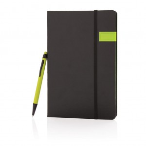 Deluxe 8GB USB notebook with stylus pen, lime