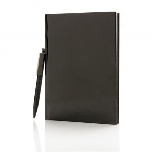 Standard hardcover A5 notebook with X3 pen, black