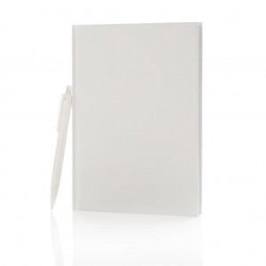 Standard hardcover A5 notebook with X3 pen, white