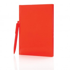 Standard hardcover A5 notebook with X3 pen, red