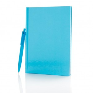 Standard hardcover A5 notebook with X3 pen, blue
