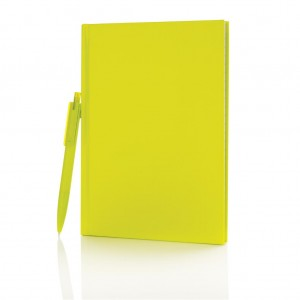 Standard hardcover A5 notebook with X3 pen, lime