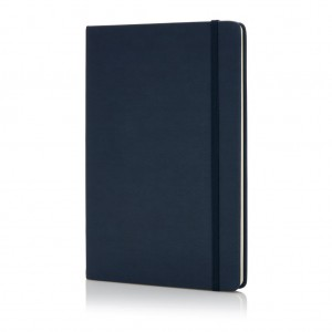 Deluxe hardcover PU A5 notebook, navy blue