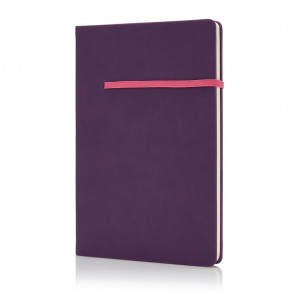 A5 notebook with horizontal band, pink/pink