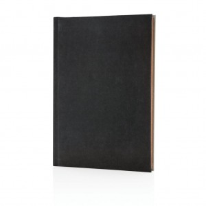 Deluxe fabric 2-in-1 A5 notebook ruled & plain, black/grey