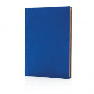 Deluxe fabric 2-in-1 A5 notebook ruled & plain, royal blue/g