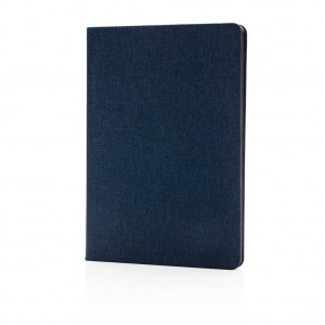 Deluxe fabric notebook with black side, blue
