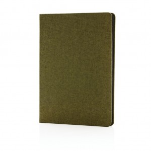 Deluxe fabric notebook with black side, green