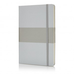 Deluxe hardcover A5 notebook, silver